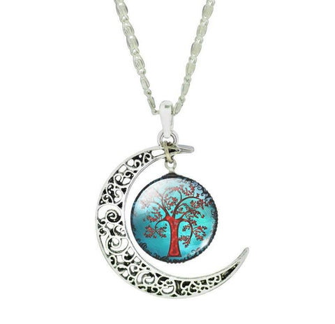 Silver Moon Life Tree Necklace - topnotchloot  - 4