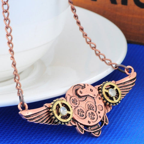 Steampunk Gears and Wings Necklace - topnotchloot  - 1