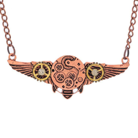 Steampunk Gears and Wings Necklace - topnotchloot  - 3