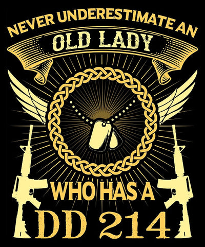 "Old Lady DD214 Vinyl Decal Sticker (5"" tall)"