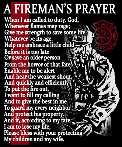 "Fireman's Prayer Vinyl Decal Sticker (5"" tall)"