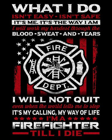 "Firefighter Till I Die Vinyl Decal Sticker (5"" tall)"