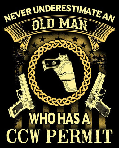 "Old Man CCW Permit Vinyl Decal Sticker (5"" tall)"