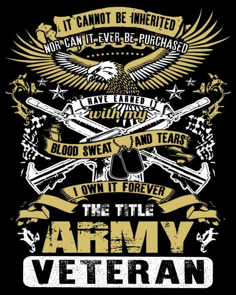 """The Title Army Veteran"" Vinyl Decal Sticker (5"" tall) - topnotchloot"