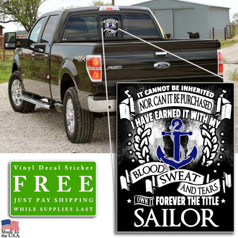 """Forever the Title Sailor"" Vinyl Decal Sticker (5"" tall)"