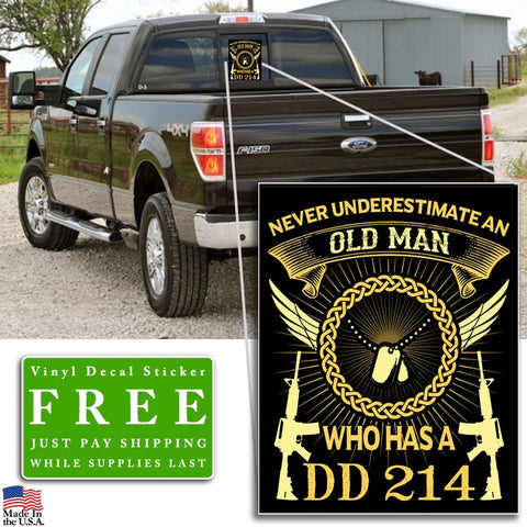 "Old Man DD214 Vinyl Decal Sticker (5"" tall) - topnotchloot  - 2"