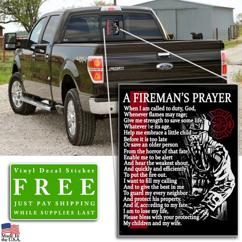 "Fireman's Prayer Vinyl Decal Sticker (5"" tall) - topnotchloot  - 2"