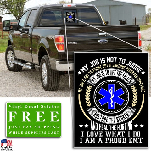 "Proud EMT Vinyl Decal Sticker (5"" tall) - topnotchloot  - 2"
