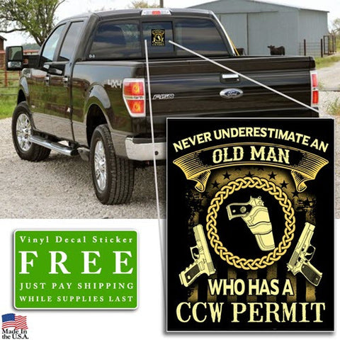 "Old Man CCW Permit Vinyl Decal Sticker (5"" tall) - topnotchloot  - 2"