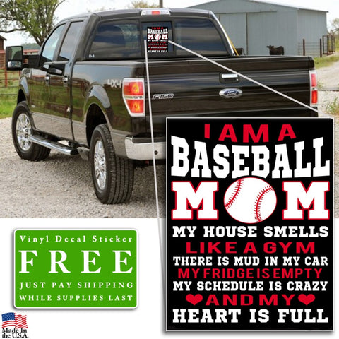 """I am a Baseball Mom"" Vinyl Decal Sticker (5"" tall) - topnotchloot  - 2"