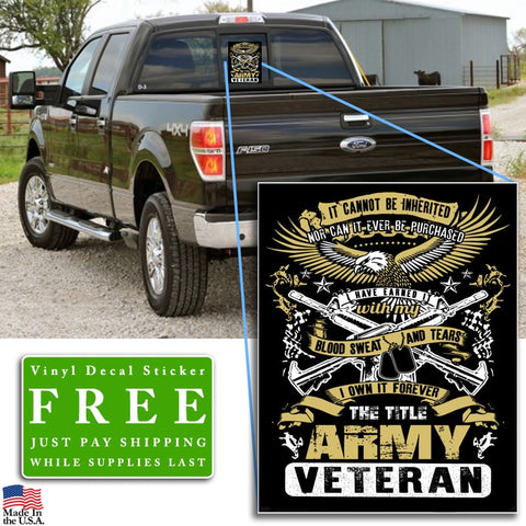"""The Title Army Veteran"" Vinyl Decal Sticker (5"" tall) - topnotchloot  - 2"