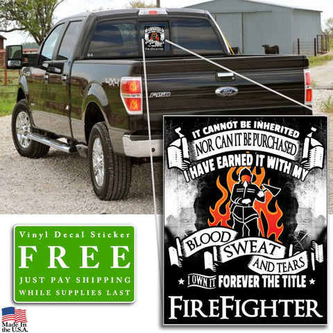 """Forever the Title Firefighter"" Vinyl Decal Sticker (5"" tall) - topnotchloot  - 2"