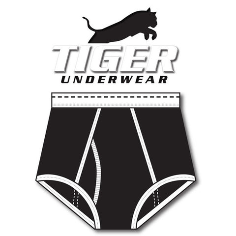 Boys Black and Black Dash Double Seat Brief - Tiger Underwear