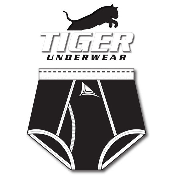 Tiger Underwear Four Panel Trainer All Black Brief (front side)