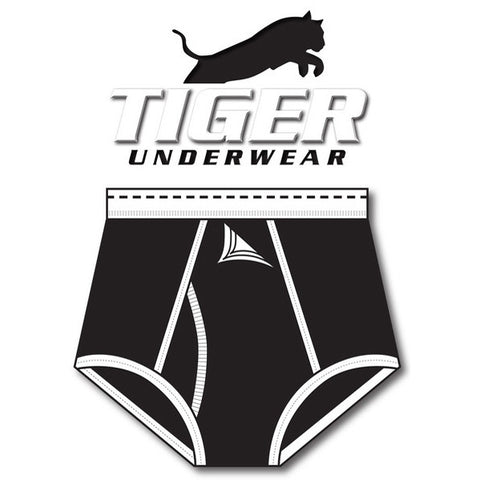 Boys Black and Black Dash Training Brief - Tiger Underwear