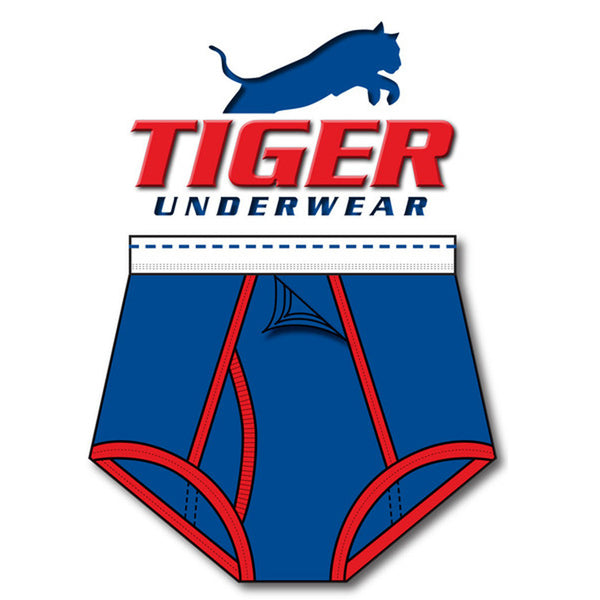 Tiger Underwear Four Panel Trainer Blue with Red Trim (Front View)