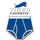 Tiger Underwear Double Seat Brief All Blue with White Trim (front view)