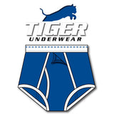 Tiger Underwear Four Panel Training Brief All Blue with White Trim (front view)