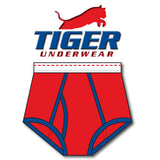 Tiger Underwear Double Seat Brief Red with Blue Trim (Front View)