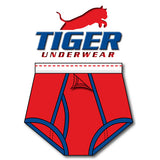 Tiger Underwear Four Panel Training Brief Red with Blue Trim (Front View)