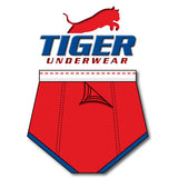 Tiger Underwear Four Panel Training Brief Red with Blue Trim (Back View)