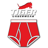 Tiger Underwear Double Seat Brief All Red with Red Dashes (Front View)
