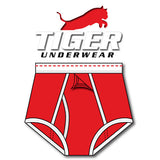 Tiger Underwear Four Panel Training Brief All Red with Red Dashes (Front View)