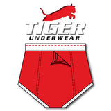 Tiger Underwear Four Panel Training Brief All Red with Red Dashes (Back View)