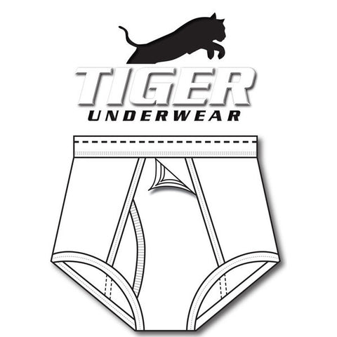 Tiger Underwear Four Panel Trainer All White with Black Dash (Front Side)
