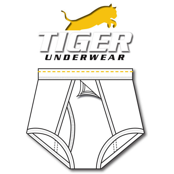 Tiger Underwear Four Panel Training Brief All White with Gold Dashes (Front View)