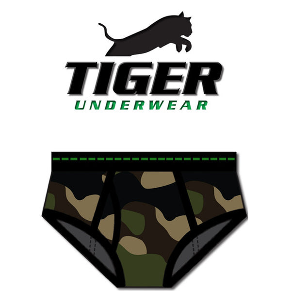 Tiger Underwear Double Seat Army Camouflage Mid Rise Double Seat Brief (Front)