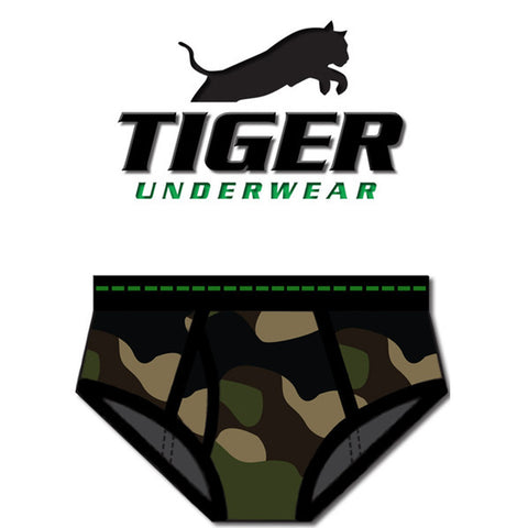 Boy's Army Mid Rise Double-Seat Brief - Tiger Underwear