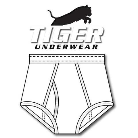 Tiger Underwear Double Seat All White with Black Dash (Front Side)