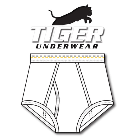 Tiger Underwear Double Seat Brief All White Brief Sporting Gold and Black Dashes (front view)