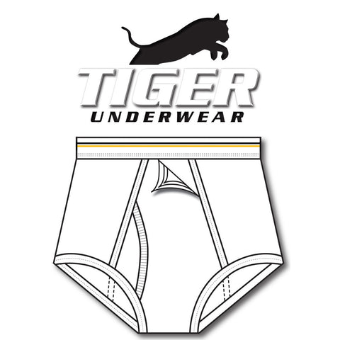 Tiger Underwear Four Panel Training Brief All White with Solid Gold and Black Lines (Front View)