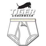 Tiger Underwear Four Panel Trainer All White Brief Sporting Gold and Black Dashes (front view)
