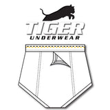 Tiger Underwear Four Panel Trainer All White Brief Sporting Gold and Black Dashes (back view)