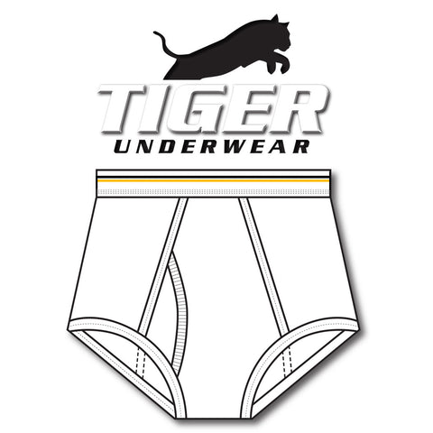 Tiger Underwear Double Seat Brief All White with Solid Gold and Black Lines (Front View)