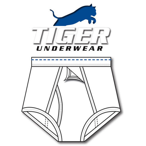 Tiger Underwer 4 Panel Trainer All White Brief Sporting Blue Dashes (front view)