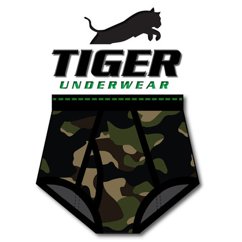 Tiger Underwear full cut Double Seat Brief and Green Dash Wasitband