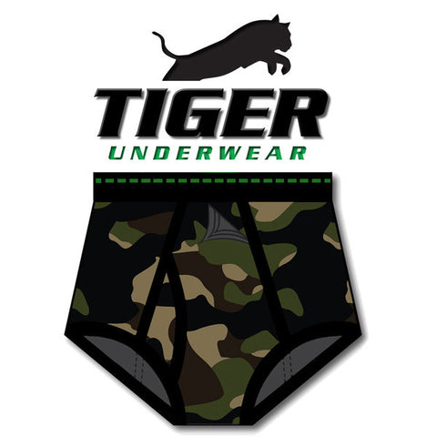 Tiger Underwear full cut Four Panel Seat Brief and Green Dash Wasitband