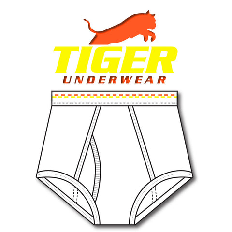 Mens Orange and Yellow Dash Double Seat Brief - Tiger Underwear