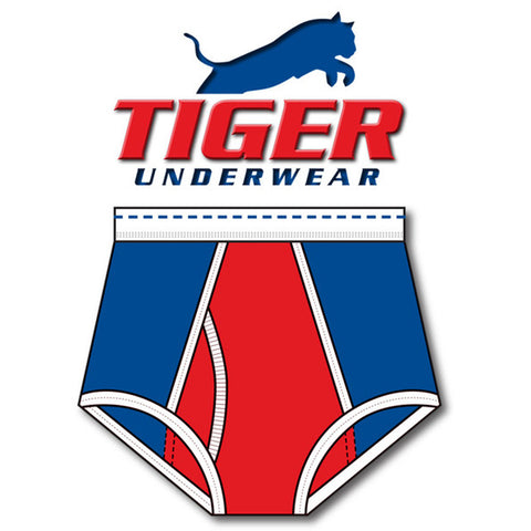 Tiger Underwear Doublele Seat Brief (Red White and Blue) front side