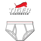 Tiger Underwear All White Red Dash Mid Rise (front view)