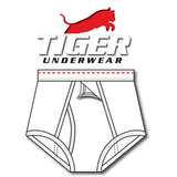 Tiger Underwear Four Panel Training Brief All White with Red Dashes (Front View)