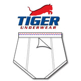 Tiger Underwear Double Seat Brief All White Brief Sporting Red and Blue Dashes (back view)