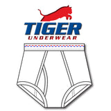 Tiger Underwear Double Seat Brief All White Brief Sporting Red and Blue Dashes (front view)