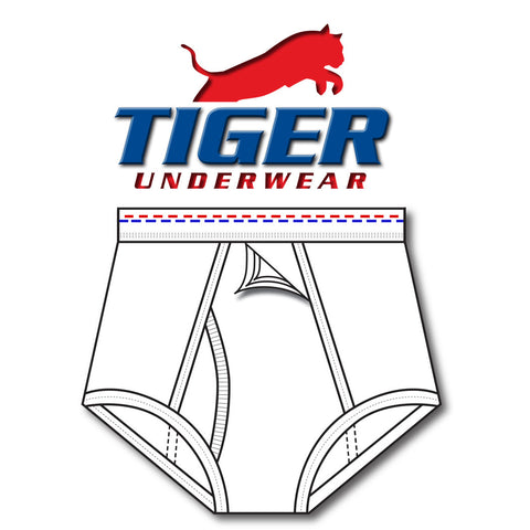 Tiger Underwear Four Panel Training Brief All White Brief Sporting Red and Blue Dashes (front view)