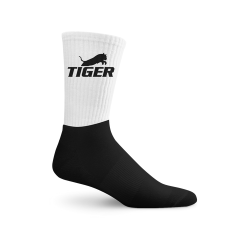 Tiger Black Logo Black Foot Socks