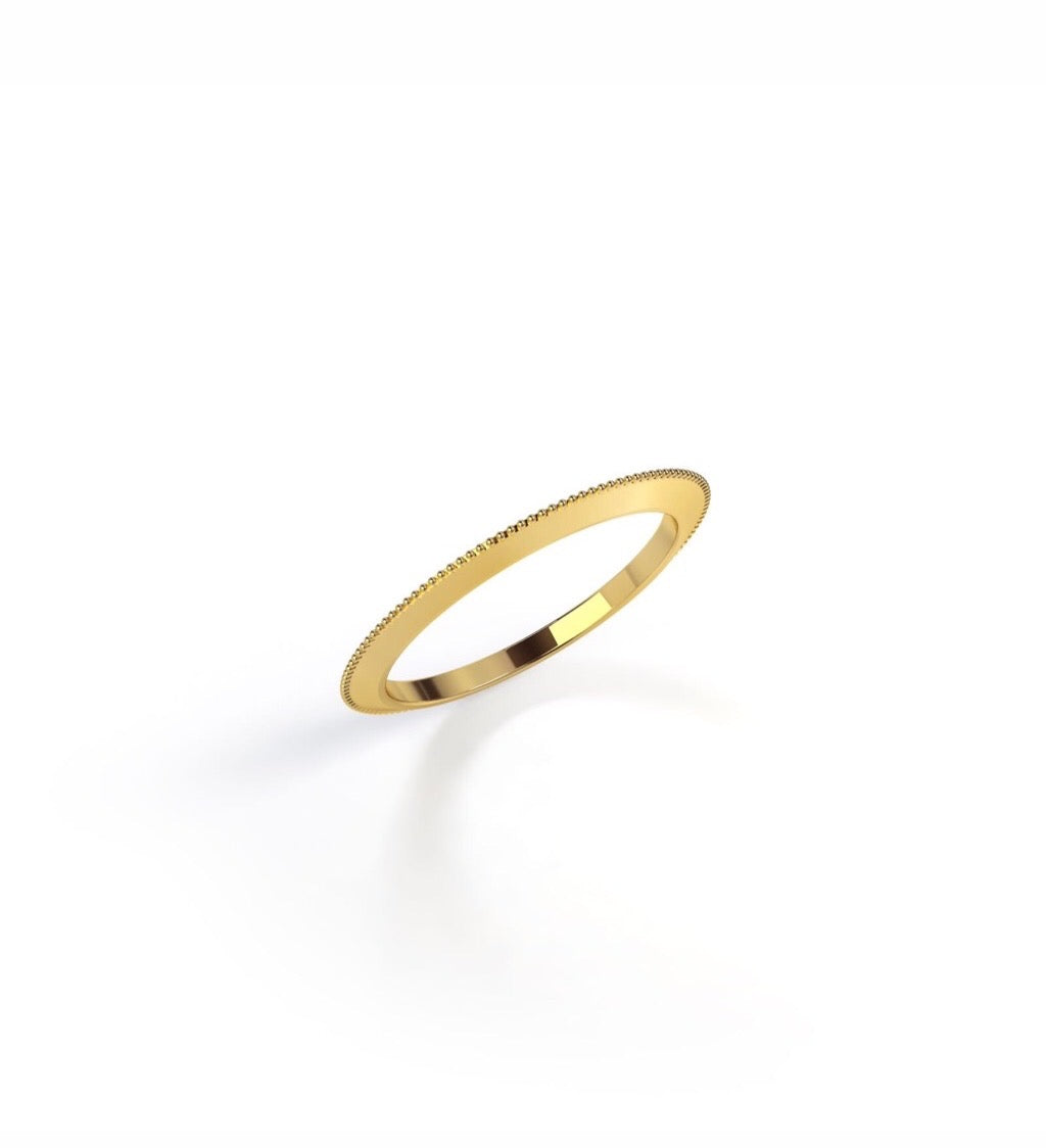Barely there millgrain ring
